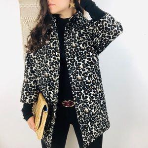 Topshop Leopard Print Jacket Long Like New c24